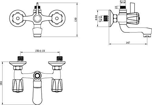 AquaSu – Zweigriffmischer Standard Plus für Badewanne, Chrom - 2