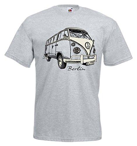 Fruit T-Shirt Bulli Berlin Souvenir Auto Hauptstadt Nostalgie (Grau, XL)