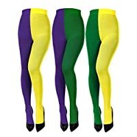 SATINIOR 3 Pairs Mardi Gras Tights Full Length Tights Thigh High Stocking Party Costume Leggings (Green Yellow, Purple Yellow, Purple Green)