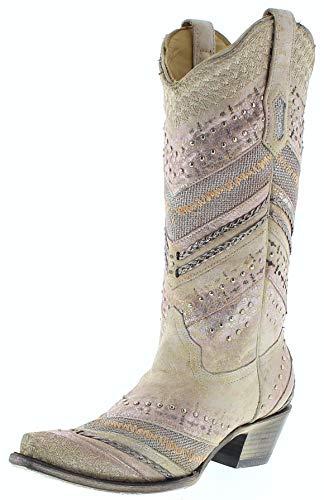 Corral Boots Damen Cowboy Stiefel A3604 White Lederstiefel Weiß 38.5 EU (8 US)