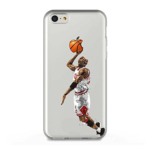 TPU Funda Gel Transparente Carcasa Case Bumper de Impactos y Anti-Arañazos Espalda Cover, NBA Basketball, Jordan Colección Collection, iPhone 5C