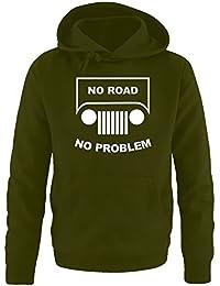 NO ROAD - NO PROBLEM ! SUV GELÄNDEWAGEN OFFROAD Sweatshirt mit Kapuze HOODIE oliv, schwarz S - 5XL