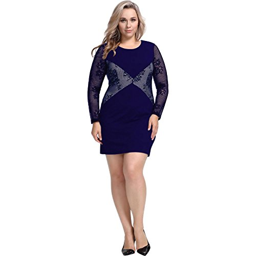 QIFEI Les femmes occidentales grande taille paquet hanche Slim couture mince dentelle col rond manches longues robe / casual femmes S-5XL hidden blue