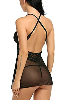 NINGMI Women Babydoll Halter Cross Strap Lace Lingerie Nightwear