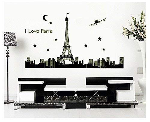 Wand-Aufkleber, I Love Paris Eiffelturm Nacht fluoreszierend leuchtenden Aufkleber Leuchtende Blume 36