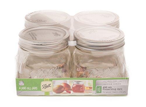 BALL MASON JARS 4 Ball Moderne Marmeladengläser mit Deckel & weiter Öffnung, 490 ml, luftdicht (Ball Gläser Deckel)