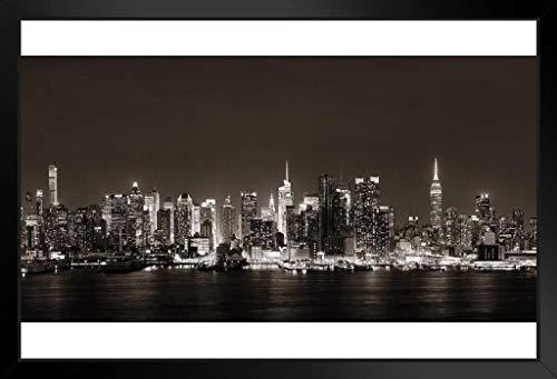 Foundry Midtown Poster Manhattan Skyline Hudson River Black White Photo 20x14 inches Framed Poster
