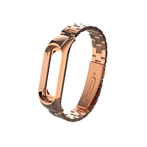 Imagen de wanfei pulsera xiaomi mi band 3 correa, band 3 correa de metal pulseras de repuesto correa de recambio brazalete extensibles para xiaomi mi band 3 no sensor/no host  oro rosa  alternativa