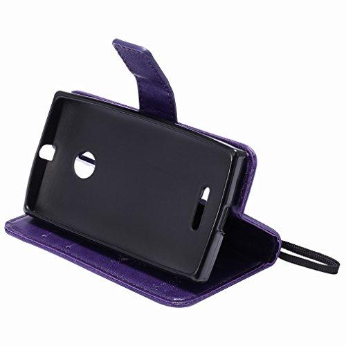 Custodia Microsoft Lumia 435 Cover Case, Ougger Fortunato Foglia Stampa Portafoglio PU Pelle Magnetico Stand Morbido Silicone Flip Bumper Protettivo Gomma Shell Borsa Custodie con Slot per Schede (Blu Viola