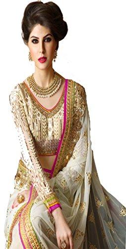 Sunshine Fashion Cream Color Net & Georgette