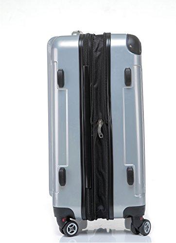 BEIBYE Hartschalen Koffer Trolley Rollkoffer Reisekoffer 4 Zwillingsrollen (76cm -110L, Silber) -