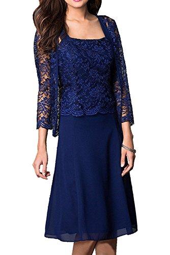 Royaldress Festlich Spitze Knielang Abendkleider Brautmutterkleider Festlichkleider mit Lang Bolero -32 Dunkel Royal Blau