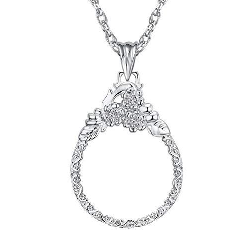 Halskette mit Lupenanhänger für Damen, 5-fache Vergrößerung, 3-in-1, 4,1 cm Silber
