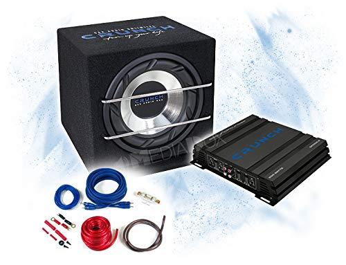 Crunch Basspaket 2-Kanal Endstufe/Verstärker+25cm Subwoofer+Kabel-Set - 500 Watt/CRB-250 + GPX-500.2 + REN10KIT -