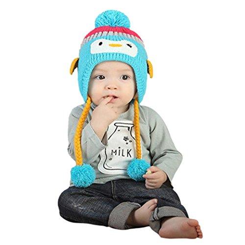 Babybekleidung Hüte & Mützen Winter-Baby Kinder WCute Baby Kleinkind Mädchen Jungen Pinguin Pelzkugel gestrickt Winter warme Mütze Cap(40-52CM) (blue)