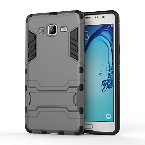 Chevron Back Cover Case for Samsung Galaxy On7 Pro / Samsung Galaxy On7 - Grey [Military Grade Version 2.0 With Kick Stand Hybrid Back Cover Case]