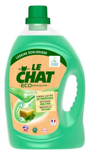 Le Chat - Eco-Efficacité - Lessive Écologique Liquide - Flacon 3 L / 40 Lavages