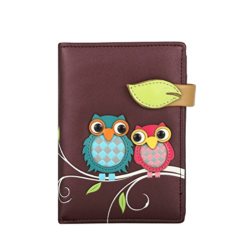 RFID borsa del portafoglio MENKAI disegno Buhos 773C2 Balsam Verde Purple Black