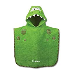Personalized Hooded Bath Poncho, Dino, Name Carter