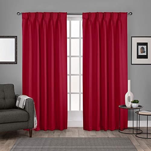 Exclusive Home Satin Zurück in die Fenster Vorhang-Faltenband mit Blackout, Polyester, Chili, 52x96 -