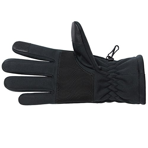 Softshell Sporthandschuhe SMART WOOLF Running Handschuhe Unisex Sport Handschuhe Nordic Walking Handschuhe für Damen und Herren mit Touchscreen-Funktion Fingerhandschuhe, Größe:L, Farbe:black