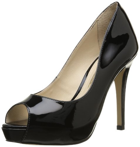 Buffalo London 071X-005 PATENT, Damen Peep-Toe Pumps, Schwarz (BLACK 01), 40 EU
