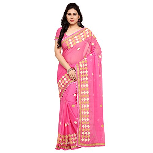 Styles closet women New Arrival Pink Chiffon Embroidered Saree