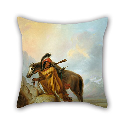 Loveloveu Oil Painting Alfred Jacob Miller - The Scalplock Throw Pillow Covers ,best For Family,birthday,father,couples,kitchen,lounge (Miller Cuscino Decorativo)
