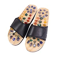 ROSENICE Natural Agate Massage Slippers Foot Sole Acupoints Relax Sandals for Health Care (1 Pair, Black 37 Yards)
