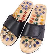 ROSENICE Natural Agate Massage Slippers Foot Sole Acupoints Relax Sandals for Health Care (1 Pair, Black 37 Ya