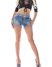 FARINA 1309 Denim pantalones, vaqueros cortos de mujer, Push up/Levanta cola, pantalones vaqueros cortos elasticos colombian,color Rojo/Blanco,talla 34-48/XS-3XL