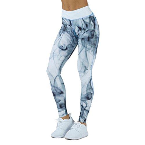 Leggings Damen, ABsolute Damen Leggings Laufhose Gym Yoga Hosen Fitness Elastische Leggings Sporthosen (M, Blau)