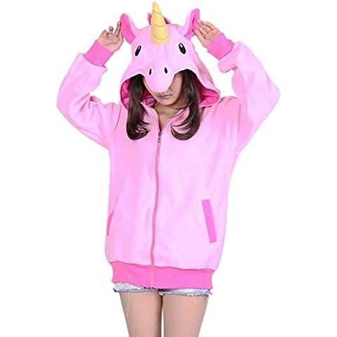 Aivtalk - Sudadera con Capucha para Mujer Chica Disfraz Chaqueta Cremallera de Animal Ropa Deportiva - Unicornio rosa - L XL