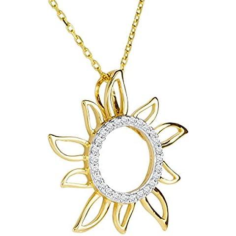 Bella Donna 655720 - Collar de mujer de oro amarillo (9k) con 26 diamantes, 43 cm
