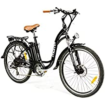 """Moma Bikes Bicicleta Electrica Paseo SHIMANO 7 vel. Aluminio, ruedas de 26"""", Bateria Ion-Litio 36V 16Ah"""