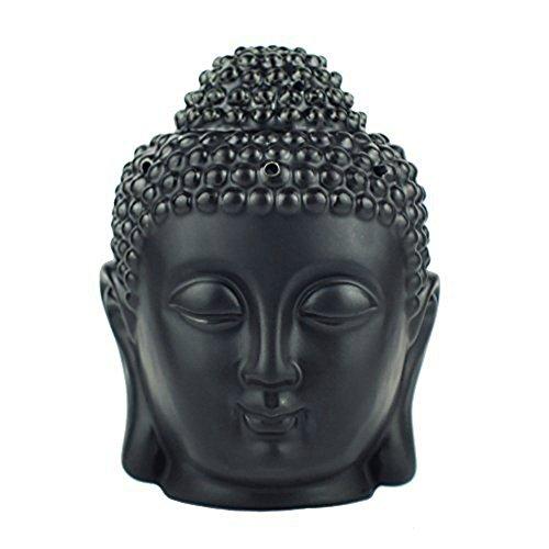 omonic Porzellan ZEN Garten Yoga Meditation Weiß Thai Buddha Statue Kopf ätherisches Öl Brenner Aromatherapie Diffusor Home Decor (Wellness-meditation-garten)