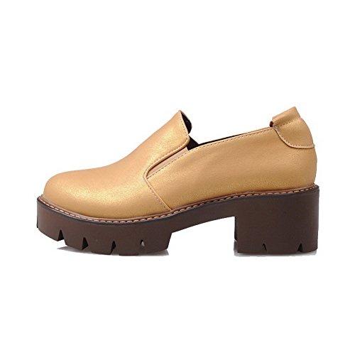 AllhqFashion Damen Ziehen Auf Mittler Absatz Pu Leder Rein Rund Zehe Pumps Schuhe Gelb