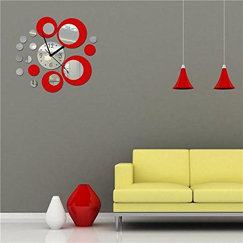 attachmenttou Design Moderne Décoration de Maison Rouge et Argent Autocollant Miroir Miroir