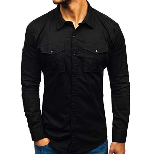 Feinny Individuelles Herren Oberteil T-Shirt Bluse Sale/Sommer Herrenmode Volltonfarbe Revers Langarm Tasche Slim Button Workwear Shirt/Schwarz/S-2XL