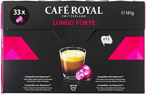 Café Royal Lungo Forte 132 cápsulas compatibles con Nespresso* - Intensidad: 8/10 - 4 x Pack de 33 cápsulas - para el sistema Nespresso - UTZ 100 % Arábica