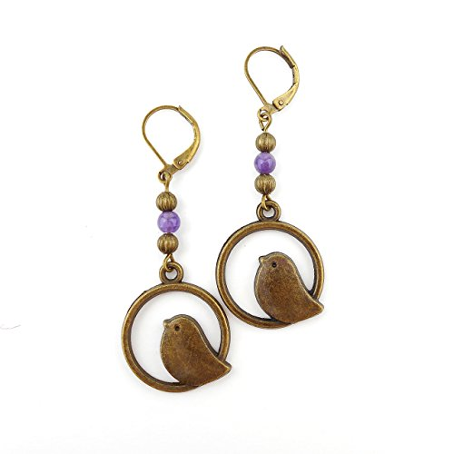 amethyst-bird-earrings-long-drop-antique-bronze-includes-gift-box