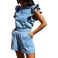 8ce617fb99e053 Damen Jeans Jumpsuit,Tomatoa Frauen Overall Einteiler Romper Hosenanzug  Kurz O-Ausschnitt Ärmellos Elegant