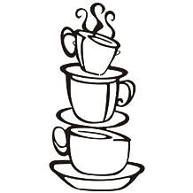 3 taza de café creativo arte de la pared calcomanías vinilo removible pared