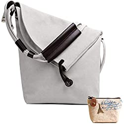 Lona Bolso Bandolera,Bolsos de Mujer Bolso de Hombro Tote Bolso Shopper Callejero Bag Unisex (Blanco)