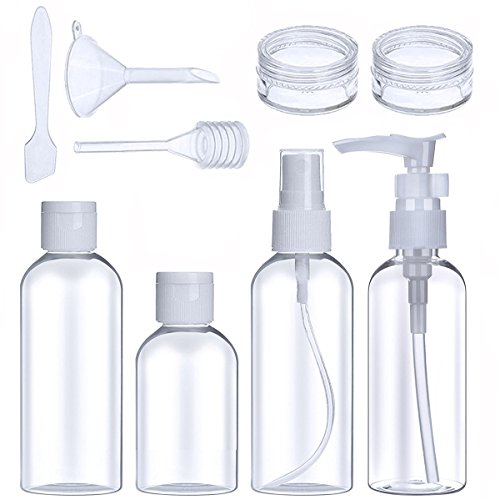 Travel Bottle Set Air Travel Bottles Portable Clear Toiletries Liquid Containers for Shampoo Cosmetic Makeup (White),TSA Airline Carry-On Approved