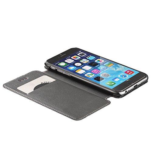 """Fosmon CADDY-TONE Leder Multipurpose Wallet Case Brieftasche Cover hülle für Apple iPhone 6 (4.7"""") - Schwarz / Weiß (Stripe) Red Stripe"""