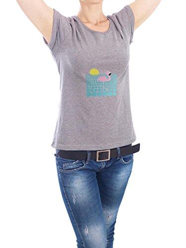 """Design T-Shirt Frauen Earth Positive """"Cocky Flamingo"""" - stylisches Shirt Tiere von Michaela Merzenich Grau"""