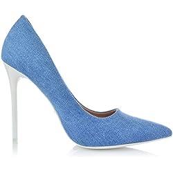 High Heels Jeans-Optik Stiletto Pumps Abendschuhe Party Damenschuhe 35-40 EUR 39 Blau