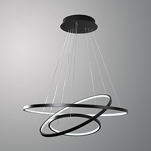 ... Modern LED Pendelleuchte 3 Ring Schwarz Rund Ring Design Hängeleuchte Acryl  Kronleuchter Metall Esstischlampe Beleuchtung Restaurant ...