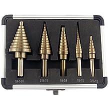 CO-Z 5pcs Hss Cobalt Step Drill Bit Set Multiple Hole 50 Sizes with Aluminum Case
